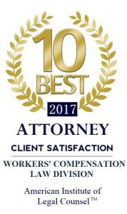2017 Ten Best Attorney in Client Satisfaction in the Workers' Compensation Law Division
