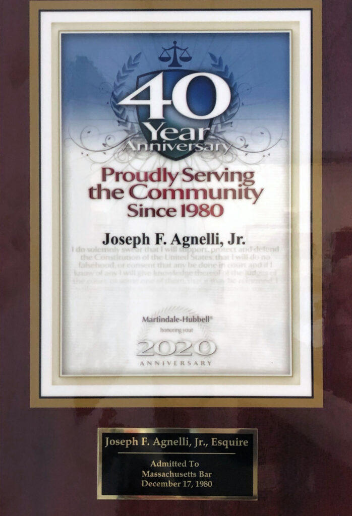 Joseph F. Agnelli 40th Anniversary Plaque