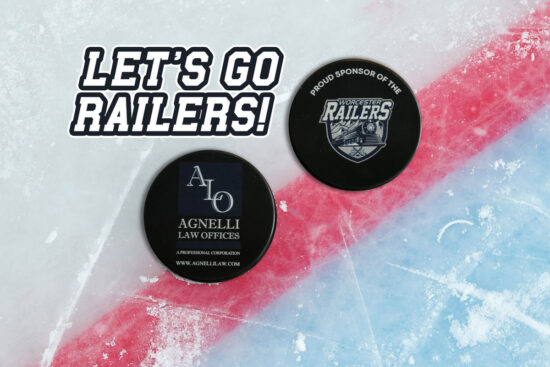 Worcester Railers and Agnelli Law Ice Puck